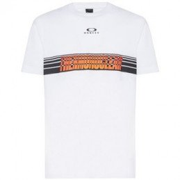 T-Shirt Oakley TN Racing Center Sunset Stripe - white