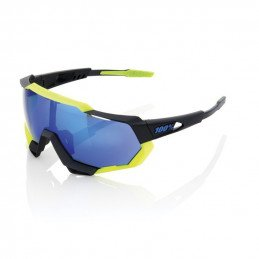 100% Speedtrap - Polished Black/Matte Neon Yellow (noir/jaune) - Ecran miroir bleu