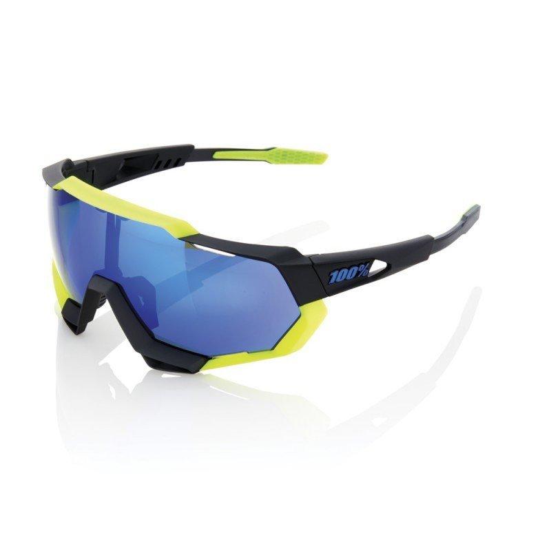 100% Speedtrap - Polished Black/Matte Neon Yellow (noir/jaune) - Ecran miroir bleu
