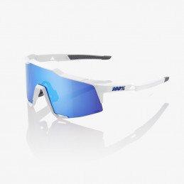 LUNETTES 100% SPEEDCRAFT LL Matte White / Blue (blanc/bleu) - Ecran HiPER miroir bleu
